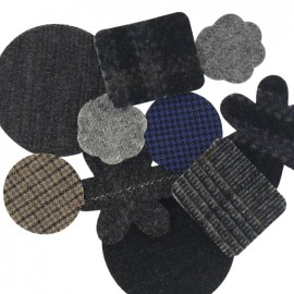 A pack of 10 woolen-cloth iron-on repair patches - multicolored