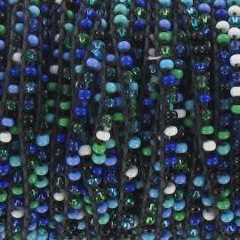 ♥ Coupon 230 cm ♥ Rocailles verre sur fil Mix bleu