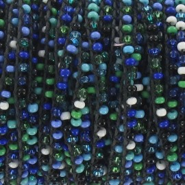 Glass Rocaille beads on thread - mixed blue colors