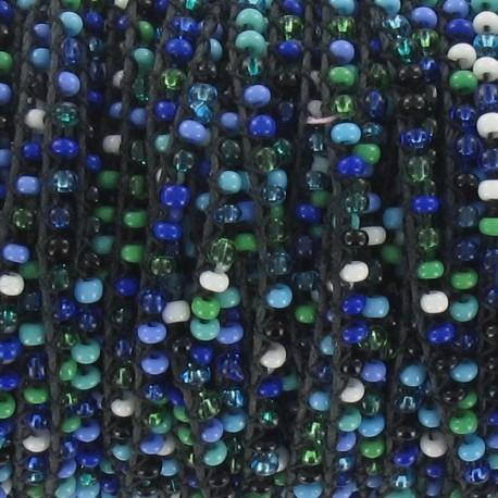 Rocailles verre sur fil Mix bleu