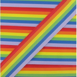Grosgrain aspect satiny ribbon, Rainbow 25 mm - Multicolored