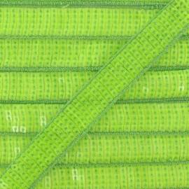 Galon paillettes vert fluo 20 mm
