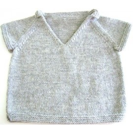 """Short sleeves Sweater Kai"" in sizes 2/4/6 and 8 years old, from Kids Tricots - light grey"