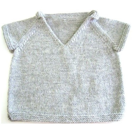 Short sleeves Sweater Kai in sizes 2/4/6 and 8 years old, from Kids Tricots - light grey