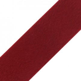 Ruban fourrure poil ras 50mm rouge×1M