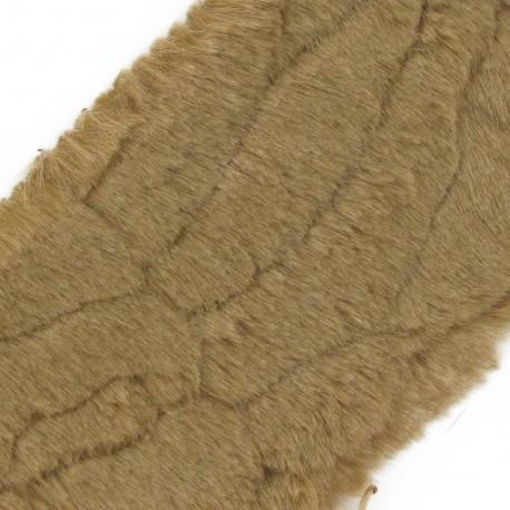 Ruban fourrure poils mixtes 100mm beige x 50cm