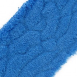 Ruban fourrure poils mixtes 100mm bleu azur x 50cm
