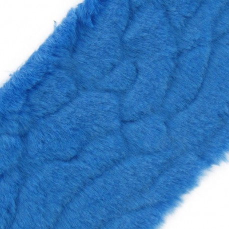Mixed-haired Fur Ribbon 100mm x 50cm - azure