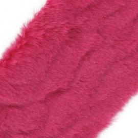 Ruban fourrure poils mixtes 100mm fuchsia x 50cm
