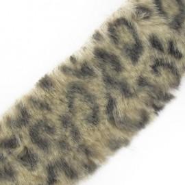 Ruban fourrure léopard 50mm beige clair x 50cm