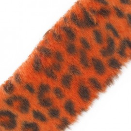 Fur Ribbon, Leopard 50mm x 50cm - orange