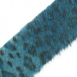 Ruban fourrure léopard 50mm bleu pétrole x 50cm