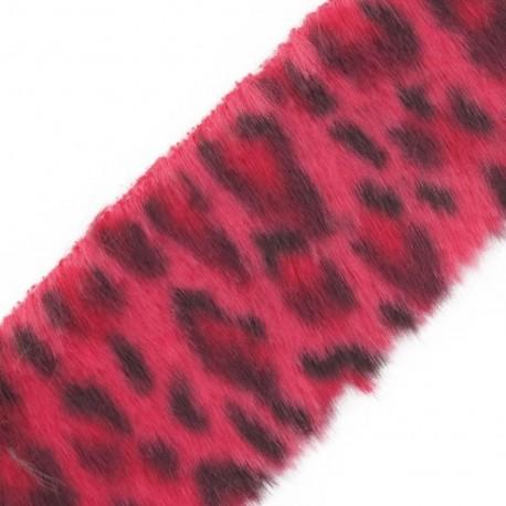 Fur Ribbon, Leopard 50mm x 50cm - fuchsia