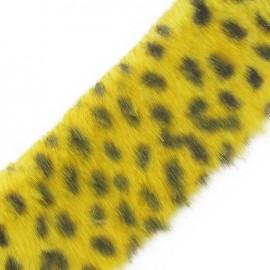 ♥ Coupon 50 cm ♥ Fur Ribbon, Leopard 50mm  - Yellow