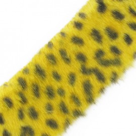 Fur Ribbon, Leopard 50mm x 50cm - Yellow