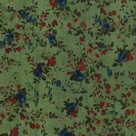 Flowers Cotton Veil Fabric - Meadow Green x 10cm