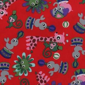 Tissu Circus animals rouge x 10cm