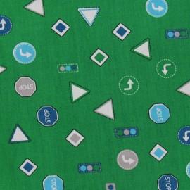 ♥ Coupon 170 cm X 110 cm ♥  Tissu Collection Qjutie Kids signalétique vert impérial