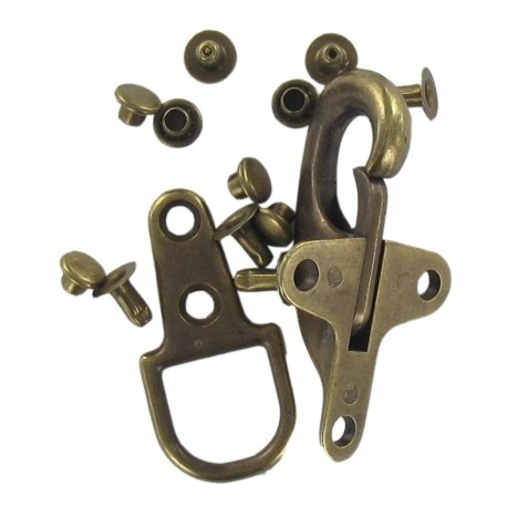 Fireman clips & clasp fastener with lobster clasps - antique gold