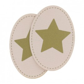 Velvet elbow and knee patch with a golden star - pale pink