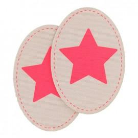 Coudière Genouillère étoile rose fluo / rose pâle en velours
