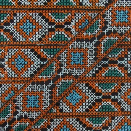 Ruban Jacquard inca 35mm orange / blanc x 20cm