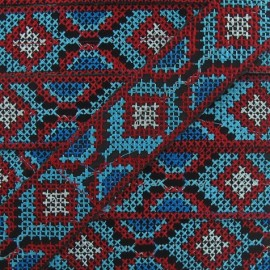 Jacquard ribbon, Inca 35 mm x 20 cm - red/turquoise