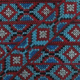 Ruban Jacquard inca 35mm rouge / turquoise x 20cm