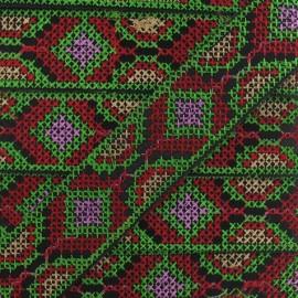 ♥ Coupon 25 cm ♥ Jacquard ribbon, Inca 35 mm  - green/red