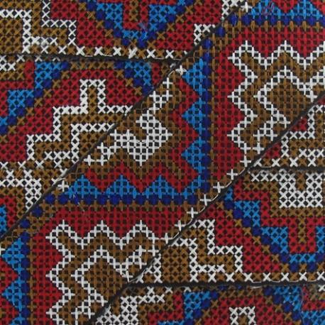 Jacquard ribbon, Inca 48 mm x 20 cm - white/chocolate