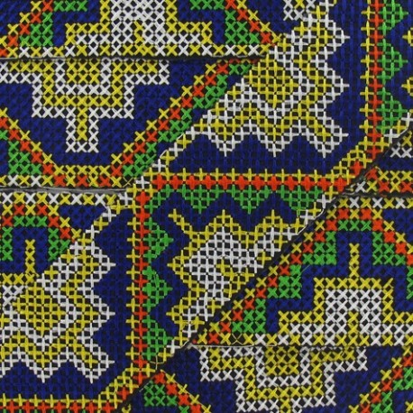 Jacquard ribbon, Inca 48 mm x 20 cm - white/yellow