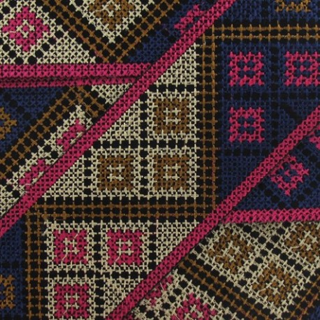 Jacquard ribbon, Inca 62 mm x 20 cm - fuchsia