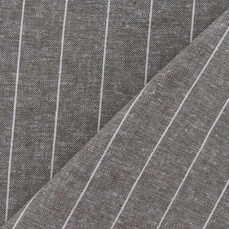 Striped Linen Chambray Fabric - Havana x 10cm