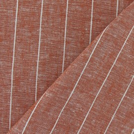 Striped Linen Chambray Fabric - Orange x 10cm