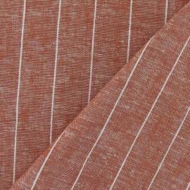 Tissu Chambray lin rayé orange x 10cm