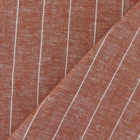 Striped Linen Chambray Fabric - Orange x 10cm