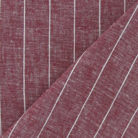 Striped Linen Chambray Fabric - Dark red x 10cm
