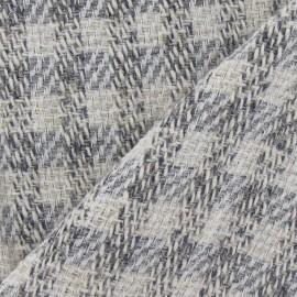 Tissu Tweed vichy fil d'argent gris perle x 10cm