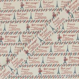 Grosgrain aspect ribbon, Paris B printed - Ecru