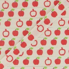 Ruban aspect gros grain écru imprimé Pomme