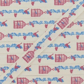 Grosgrain aspect ribbon, Birds' cage printed - Ecru