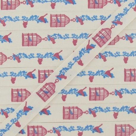 Grosgrain aspect ribbon, Birds' cage printed - Ecru