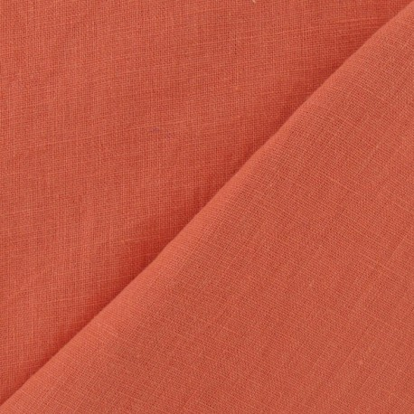 Washed Linen Fabric - Coral x 10cm