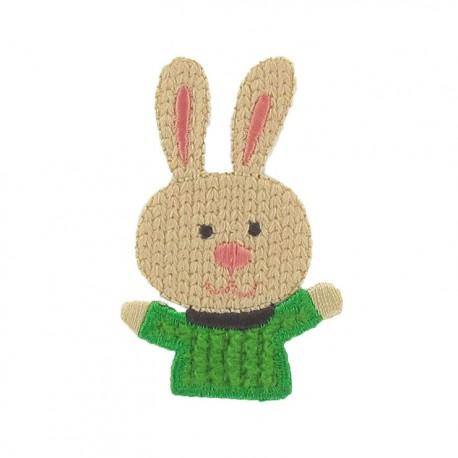 Friendly rabbit iron-on applique - multicolored
