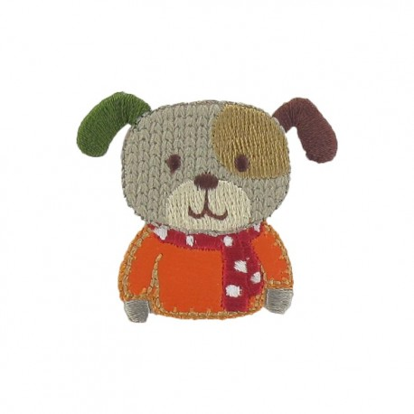 Friendly dog iron-on applique - multicolored