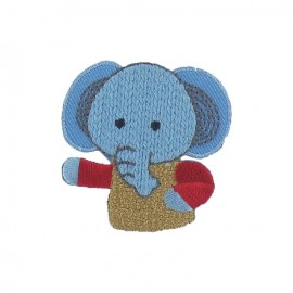 Friendly elephant iron-on applique - multicolored