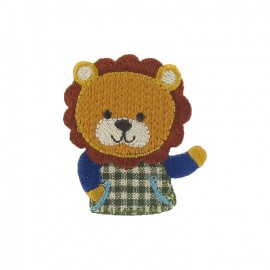 Friendly lion iron-on applique - multicolored