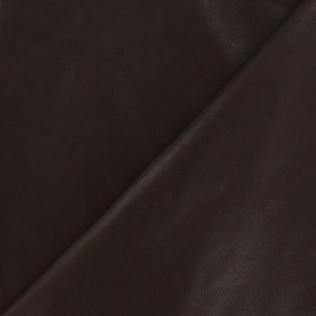 Imitation leather pearly - chocolate x 10cm