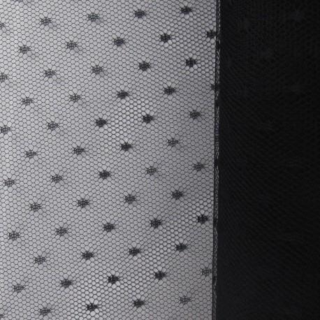 Tulle Haute qualité Plumetis point d'esprit noir x10cm