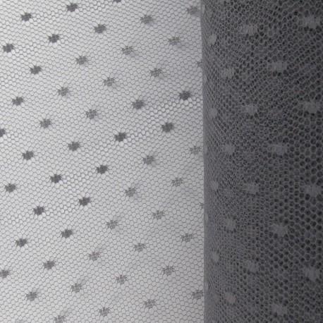 Tulle Haute qualité Plumetis point d'esprit gris x10cm